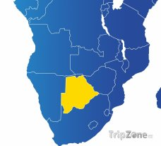 Poloha Botswany na mapě Afriky