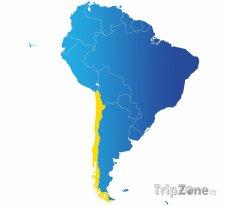 Poloha Chile na mapě Jižní Ameriky