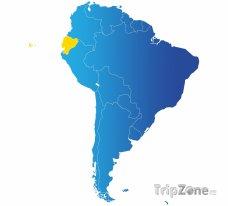 Poloha Ekvádoru na mapě Jižní Ameriky