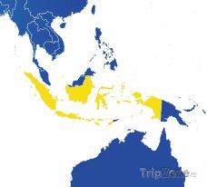 Poloha Indonésie na mapě