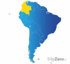 Poloha Kolumbie na mapě Jižní Ameriky