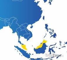 Poloha Malajsie na mapě Asie
