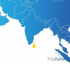 Poloha Srí Lanky na mapě Asie