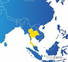 Poloha Thajska na mapě Asie