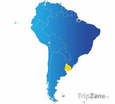 Poloha Uruguaye na mapě Jižní Ameriky