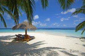 Exotická pláž s lehátky