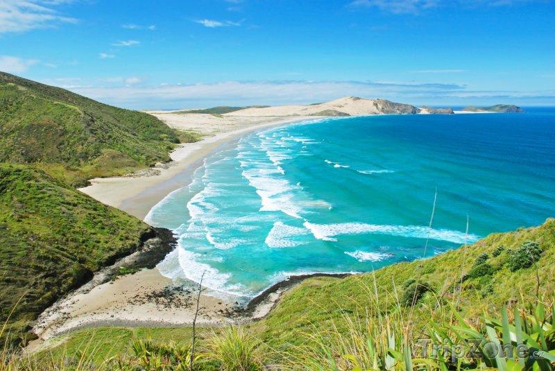 Fotka, Foto Pláž v blízkosti mysu Cape Reinga (Nový Zéland)