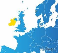 Poloha Irska na mapě Evropy