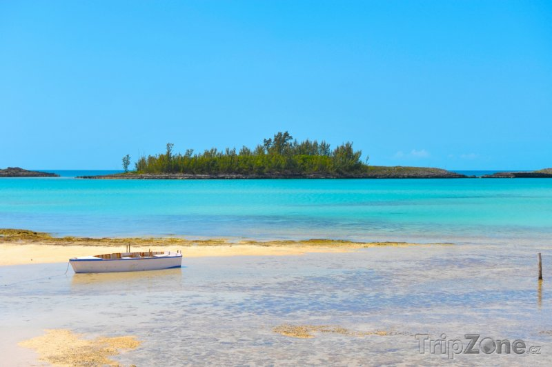 Fotka, Foto Loďka u Pink Sand Beach na Harbour Island (Bahamy)