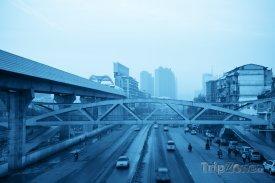 Město Wuhan za svítání
