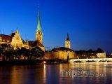 Noční scenérie v Curychu