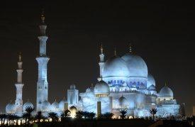 Osvětlená mešita Sheikh Zayed
