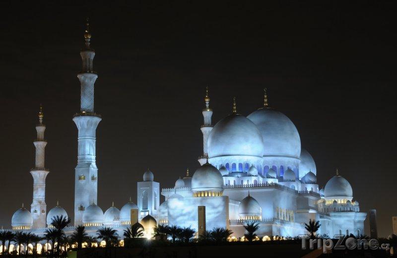 Fotka, Foto Osvětlená mešita Sheikh Zayed (Abú Dhabí, Spojené arabské emiráty)