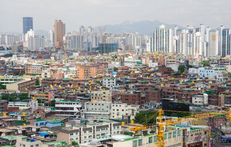 Fotka, Foto Pohled na město Soul z kopce (Jižní Korea)