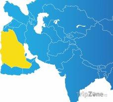 Poloha Saudské Arábie na mapě Asie