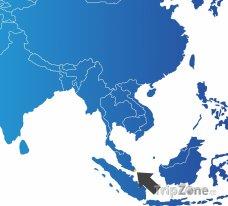 Poloha Singapuru na mapě Asie