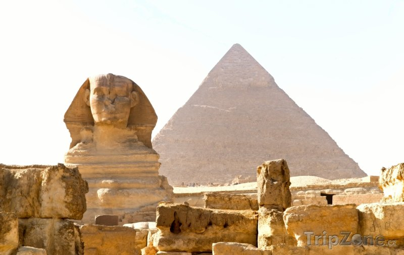 Fotka, Foto Sfinga a Cheopsova pyramida (Egypt)