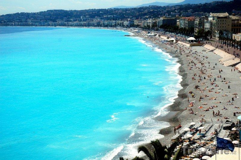 Fotka, Foto Nice, pláž Centenaire na Anglické promenádě (Nice, Francie)