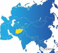 Poloha Afghánistánu na mapě Asie