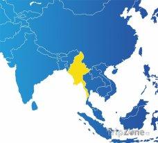Poloha Barmy na mapě Asie