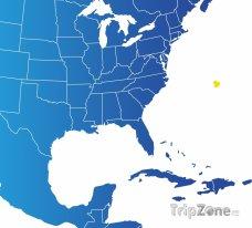 Poloha Bermud na mapě Severní Ameriky