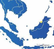 Poloha Bruneje na mapě Asie
