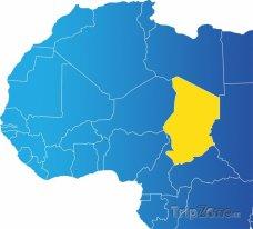 Poloha Čadu na mapě Afriky