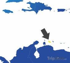 Poloha Curacaa na mapě Jižní Ameriky