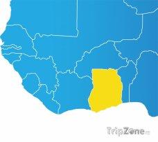 Poloha Ghany na mapě Afriky