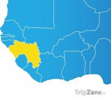 Poloha Guineji na mapě Afriky