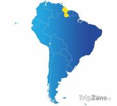 Poloha Guyany na mapě Jižní Ameriky