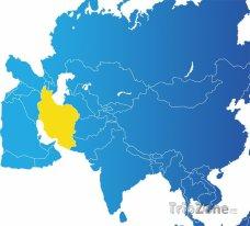 Poloha Íránu na mapě Afriky