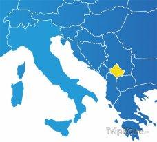 Poloha Kosova na mapě Evropy