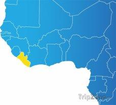 Poloha Libérie na mapě Afriky