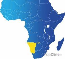 Poloha Namibie na mapě Afrkiy