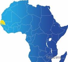 Poloha Senegalu na mapě Afriky
