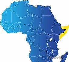 Poloha Somálska na mapě Afriky