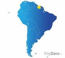 Poloha Surinamu na mapě Jižní Ameriky