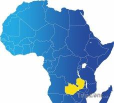 Poloha Zambie na mapě Afriky