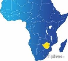 Poloha Zimbabwe na mapě Afriky