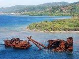 Potopená loď u ostrova Roatán