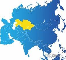 Poloha Kazachstánu na mapě Asie