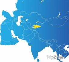 Poloha Kyrgyzstánu na mapě Asie