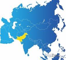 Poloha Pákistánu na mapě Asie