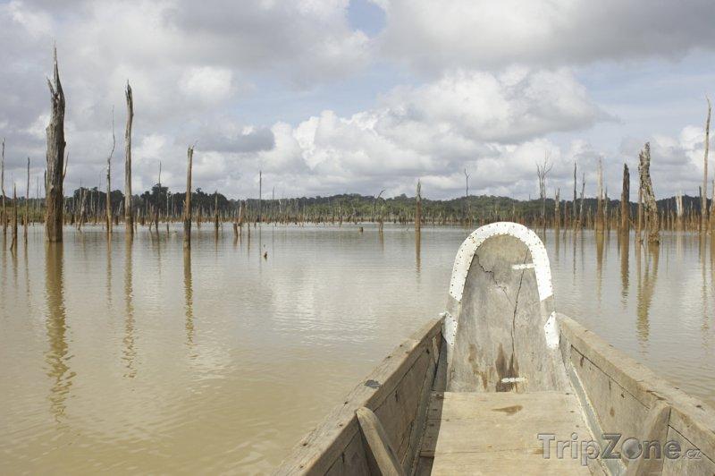 Fotka, Foto Kanoe u města Brokopondo (Surinam)