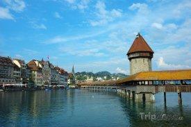 Lucern, zastřešený dřevěný most přes řeku Reuss