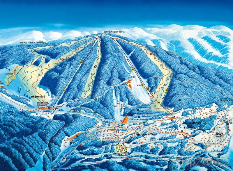 Fotka, Foto Mapa lyžařského areálu Harrachov
