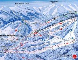 Mapa lyžařského areálu Hromovka