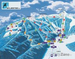 Mapa lyžařského areálu Ještěd