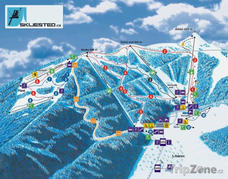 Fotka, Foto Mapa lyžařského areálu Ještěd